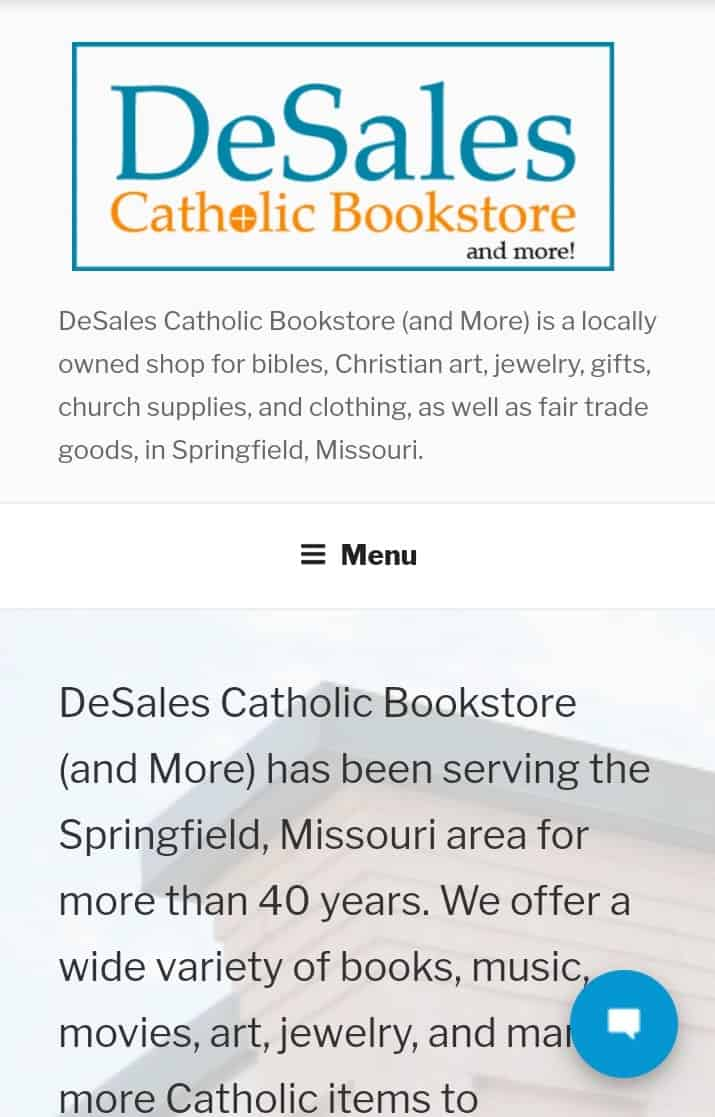 Screenshot of the mobile-friendly website design for Desales Catholic Bookstore