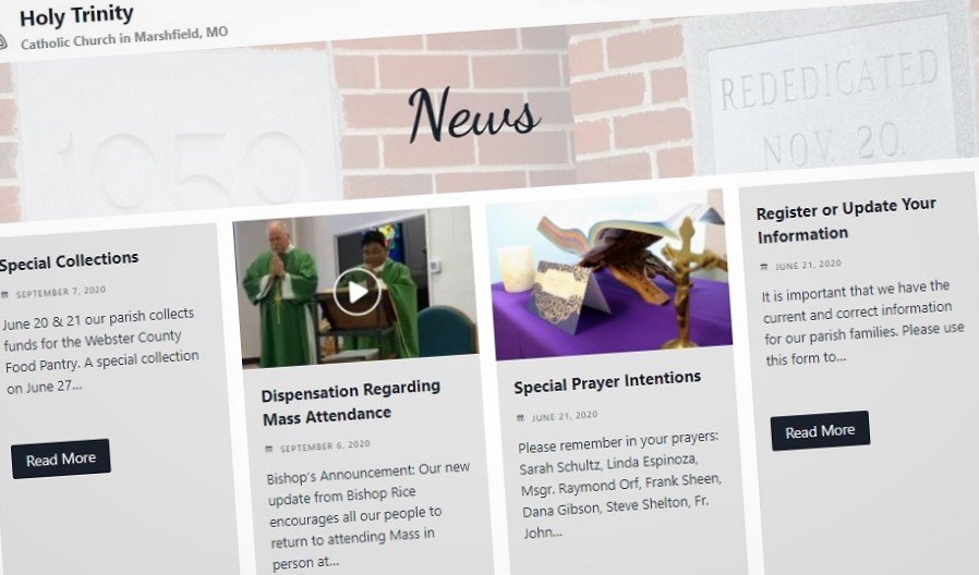 Screenshot of a church website design that included content writing for the news posts prior the launch