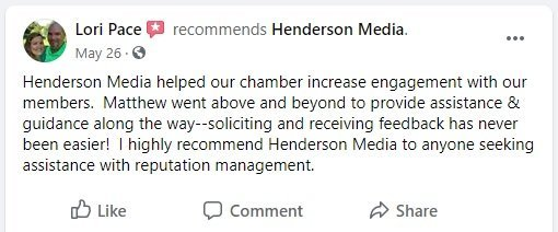 A recommendation on Facebook from a client for Henderson Media's reputation management service