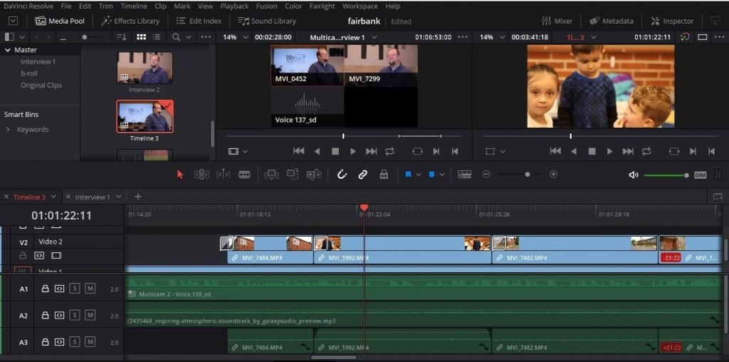 Screenshot of video-editing software