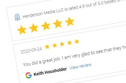 a screenshot of online reviews for Henderson Media