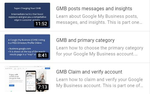 A screenshot of three GMB management how-to videos