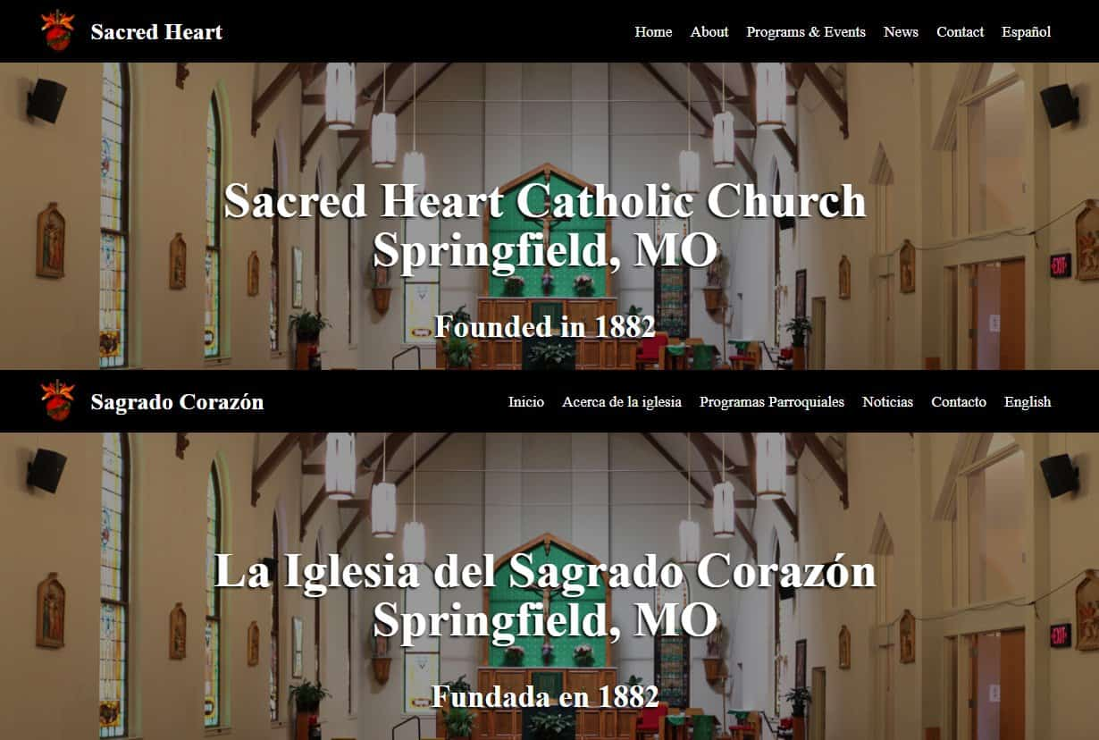 screen shots of a bi-lingual web design showing the English and Spanish home pages